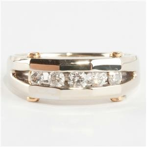 Men's 14k White & 18k Yellow Gold Round Cut Diamond Ring W/ Screw Accents .64ctw