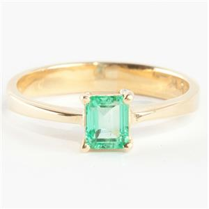"""Ladies Stunning 18k Yellow Gold Emerald Cut """"AAA"""" Emerald Solitaire Ring .34ct"""