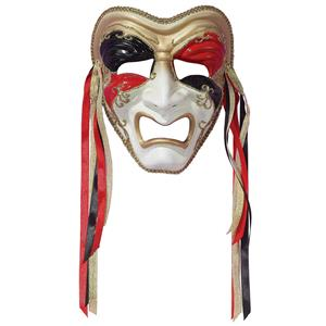Tri-Color Black Red Gold Tragedy Venetian Masquerade Mardi Gras Mask