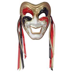 Tri-Color Black Red Gold Comedy Venetian Masquerade Mardi Gras Mask