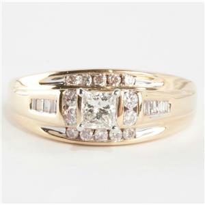 Ladies 14k Yellow & White Gold Princess Cut Diamond Engagement Ring .61ctw