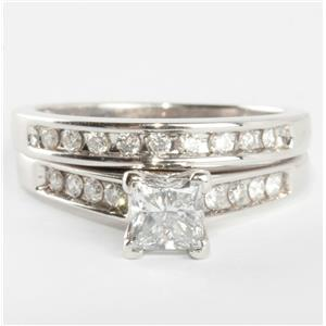 14k White Gold Princess Cut Diamond Engagement / Wedding Ring Set .95ctw