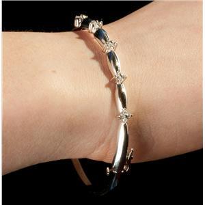 "Ladies 14k White Gold Round Cut Diamond Bangle Bracelet .30ctw 8"" Length"