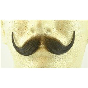 Medium Brown Real Human Hair Handlebar Mustache 2013