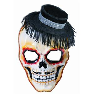 Day of the Dead Masquerade Skull Mask with Attached Mini Hat