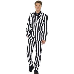Black and White Striped Humbug Suit Costume Size Large