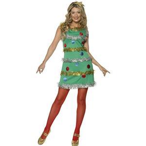 Women's Christmas Tree Adult Costume Dress and Headband Size Small 4-6