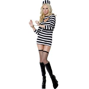 Smiffy's Fever Women's Convict Sexy Dress & Hat Adult Costume Size Medium 10-12