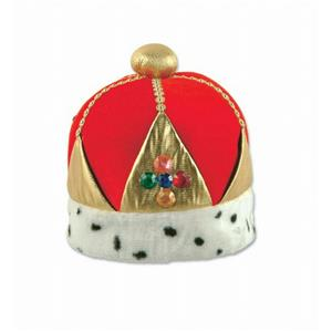 Plush Royal Imperial Queen's Crown Hat Dalmatian Trim