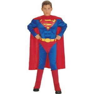 Super DC Heroes Deluxe Muscle Chest Superman Child Costume Size Large