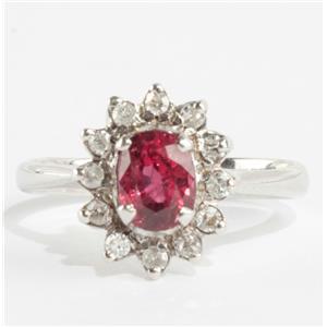 Ladies 18k White Gold Oval Cut Ruby & Round Cut Diamond Halo Ring .78ctw