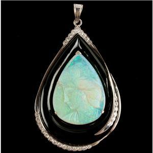 Ladies Stunning 18k White Gold Opal / Onyx / Diamond Cameo Pendant .48ctw