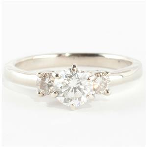 "14k White Gold Round Cut ""F"" Diamond Three-Stone Engagement Ring .85ctw"