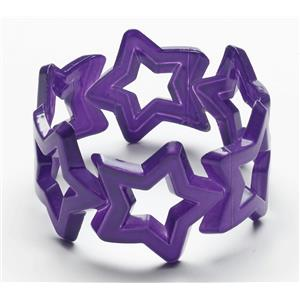 Star Bangle Bracelet Purple Club Candy Neon Colored Plastic
