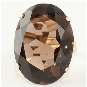 Vintage 1940's 18k Yellow Gold Oval Cut Smokey Quartz Solitaire Ring 35.5ct