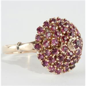 Unique Vintage 1940's 18k Yellow Gold Round Cut Ruby Pyramid Ring 1.52ctw