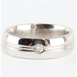 14k White Gold Round Cut Diamond Solitaire Wedding / Anniversary Band .10ct