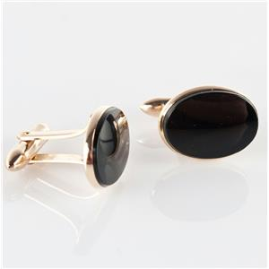 "Unique 14k Yellow Gold Oval Cut ""AA"" Onyx Cufflinks"
