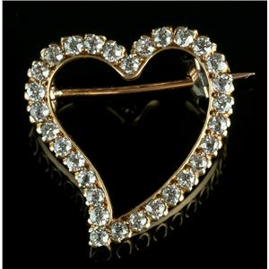 Tiffany & Co Vintage 1900s 18k Yellow Gold Round Cut Diamond Heart Brooch .75ctw