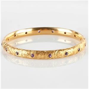 "Stunning 18k Yellow Gold Hand Engraved ""AA"" Amethyst Bangle Bracelet 1.6ctw"