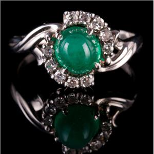 Vintage 1950's 14k White Gold Oval Cabochon Cut Emerald & Diamond Ring 1.20ctw