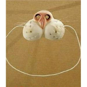 Rubber White Cat Nose on Elastic Band Funny Animal Pet