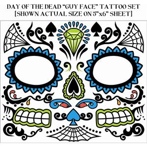 Day Of The Dead Male Guy Face Tattoo Set