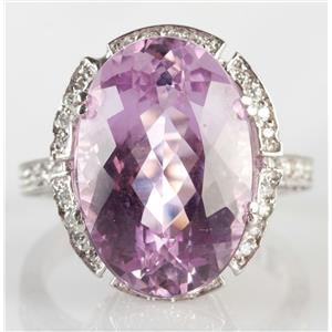 Stunning 18k White Gold Oval Cut Kunzite & Diamond Cocktail Ring 12.05ctw