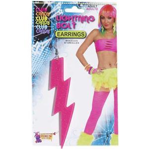 Neon Pink Plastic Glitter Lightning Bolt Earrings Pair