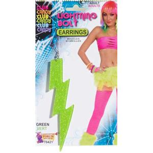 Forum Novelties Women's Neon Green Plastic Glitter Lightning Bolt Earrings