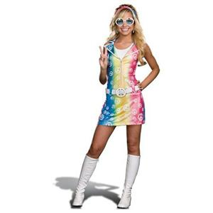 70's Polly Ester Peace Sign Rainbow Tie Dye Girls Juniors Costume Large 11-13