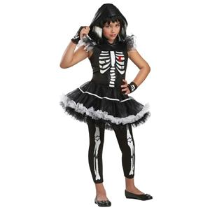 Girls California Costumes Skela-Rina Skeleton Ballerina Child Costume Small 6-8