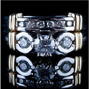 Platinum & 14k Yellow Gold Diamond Engagement / Wedding Ring Set 1.02ctw