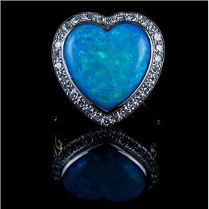 Vintage 1940's 14k Yellow Gold & Platinum Heart Cut Opal & Diamond Cocktail Ring