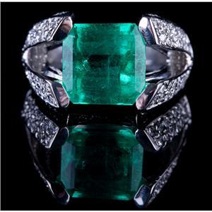 18k White Gold Emerald Cut Emerald Solitaire Ring W/ Diamond Accents 7.29ctw