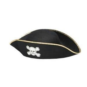 Jacobson Hats Men's Pirate Tricorn Costume Hat with Gold Trim