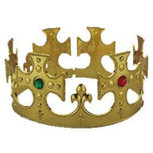 Gold Plastic Jeweled King's Queen Crown Costume Accessory