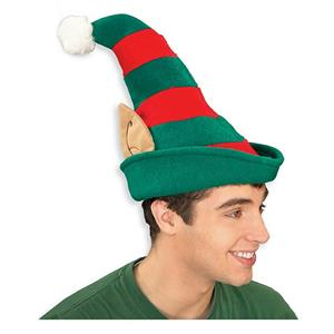 Red and Green Striped Christmas Elf Hat with Ears and Pom Pom