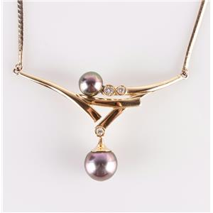 14k Yellow Gold Round Cut Cultured Tahitian Pearl & Diamond Necklace .22ctw