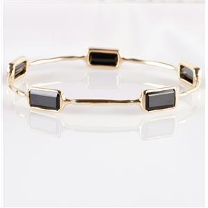 Stunning 18k Yellow Gold Emerald Cut Black Tourmaline Bangle Bracelet 15.0ctw