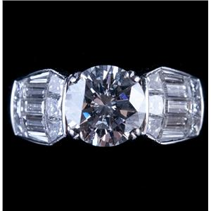 Stunning Platinum G VS1 Diamond Solitaire Engagement Ring W/ Accents 4.35ctw