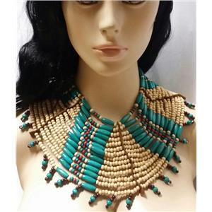 Native American Natural Bead Necklace Costume Accessory