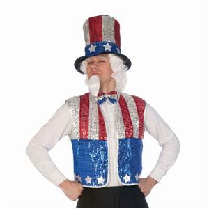 Forum Novelties Patriotic Sequin Uncle Sam Hat Beard Bowtie Vest Costume Kit