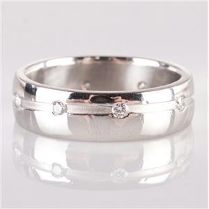 "Unisex Platinum Round Cut ""G"" Diamond Wedding / Anniversary Band .24ctw"