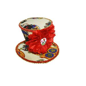 Forum Novelties Adult Day of the Dead Mini Skull and Red Flower Top Hat Clip
