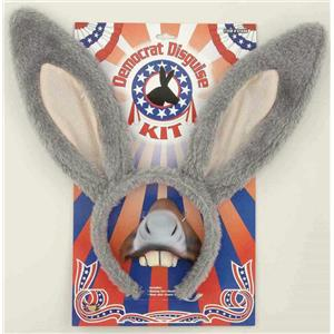 Democrat Political Donkey Disguise Costume Ears Nose Accessory Kit