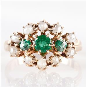 Vintage 1900's 14k Yellow Gold Emerald & Natural Saltwater Pearl Ring .60ctw