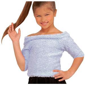 Forum Girl's 1950's White Fifties Sock Hop Costume Child Top Size Medium 8-10