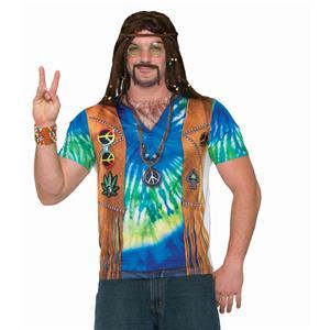 Men's Realistic Instant Male Hippie Sublimation T-Shirt Adult Size Medium