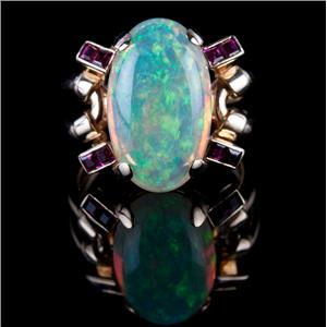 Vintage 1940's 18k Yellow Gold Jelly Opal & Ruby Solitaire Cocktail Ring 9.98ctw